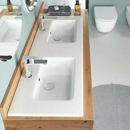 Νιπτήρας Ένθετος/Κρεμαστός Bianco Ceramica Flat