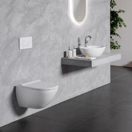Λεκάνη Κρεμαστή Bianco Ceramica Remo Rimless – Λευκό Ματ